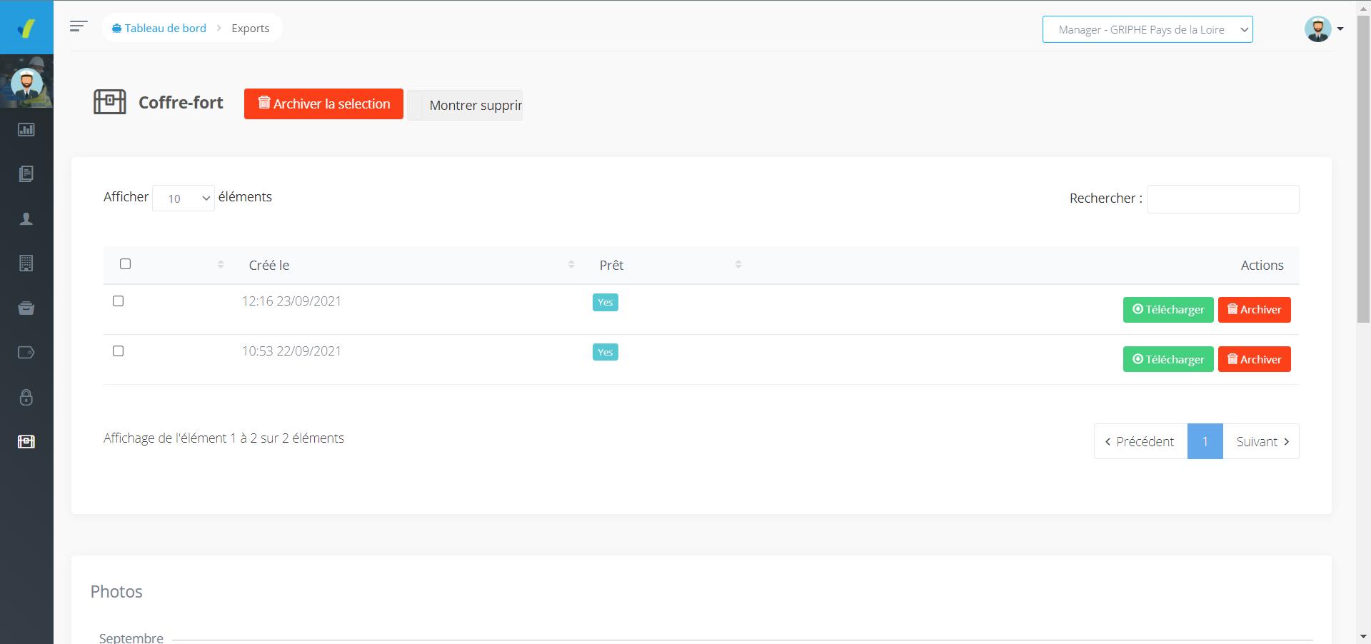 Visuel de l'outil Coffre Fort du site web SHEQ Instant, exporter vos audits rédigés rapidement