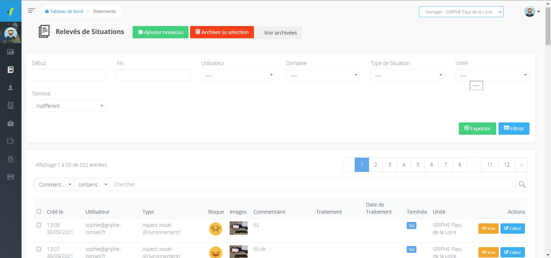 Visuel de l'outil Relevés de Situations du site web SHEQ Instant, liste de tous vos audits rédigés rapidemenent