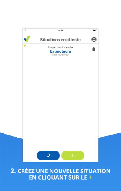 Visuel de l'outil situation de l'application mobile SHEQ Instant, liste de tous vos audits en entente d'être exporter rapidement
