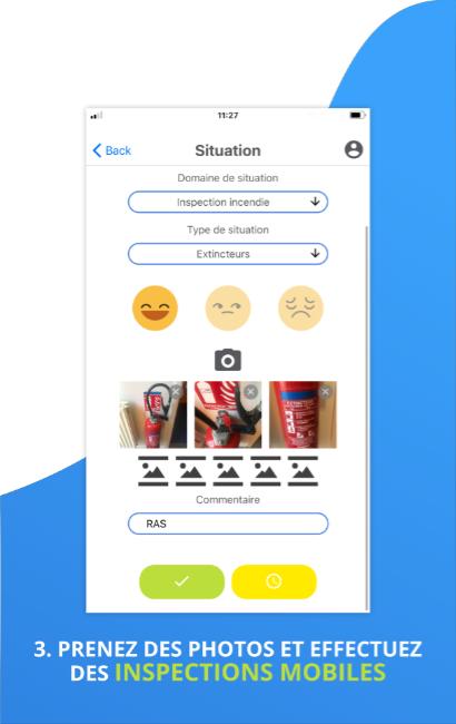 Visuel de l'outil situation de l'application mobile SHEQ Instant, pour rédiger des audits rapidement